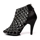 AOQUNFS Rhinestones Ballroom Dance Shoes Women Latin Salsa Bachata Wedding Perfermence Dance Shoes,YCL398-Black-8.5-428,US 9