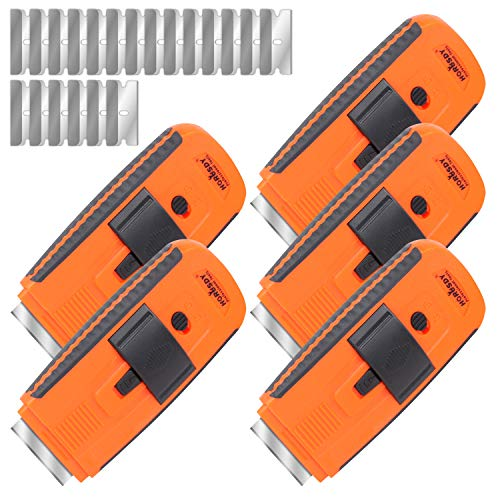 HORUSDY 5PC Automatic Razor Blade Scraper Tool, Glass Ceramic Metal Scraper, Sticker Glue Paint Adhesive Decal Scraper, 20pcs Steel Blades