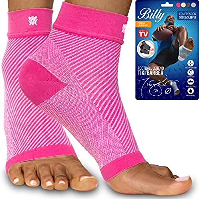 Bitly Plantar Fasciitis Compression Socks for Women & Men - Best Ankle Compression Sleeve, Nano Brace for Everyday Use - Provides Arch Support & Heel Pain Relief (Pink, Large)
