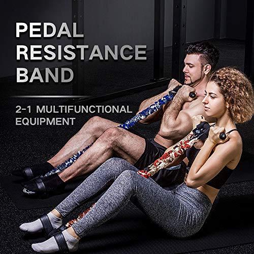 INNSTAR Pedal-Widerstandsband, Multifunktions-Zugseil, Fitnessgerät, Upgrade 3-Bands Naturlatex Sit-up Bodybuilding Expander, für Bauch, Taille, Arm, Brust, Yoga, Stretching Slimming Training