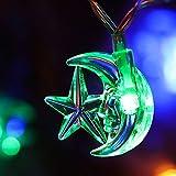 Luci Stringa di Stella Luna Decorativi per Decorazioni del Ramadan, Luci Stringa di Ramadan 6,6 Feet 20 LED a Batteria di 2 Modalità Luce per Natale all'Aperto al Coperto, Matrimonio, Festa