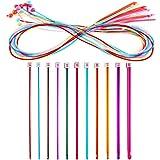 Juego de 23 Ganchillos de Crochet de Tunecino Incluye Ganchillos de Crochet de Afgano con Cable de Plástico y Agujas de Tejer de Aluminio Afganas Tunecinas Multicolores para Herramientas de Tejido