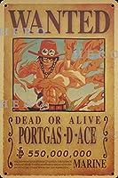 海賊アニメPORTGAS D ACE さびた錫のサインヴィンテージアルミニウムプラークアートポスター装飾面白い鉄の絵の個性安全標識警告バースクールカフェガレージの寝室に適しています