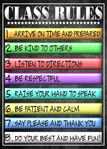 Class Rules Poster for Classrooms- Laminated, Size 14x19.5 in.- Back To School Classroom Decorations, Educational Posters, Teacher Supplies for Preschool, Kindergarten, Elementary, and More
