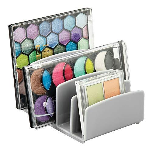 mDesign - Make-up organizer - cosmetica-organizer/opberger - strak/modern - met 5 gescheiden gedeeltes - voor badkamer/aanrechten/badmeubels/kasten - voor oogschaduwpaletten/contoursets/rouge/gezichtspoeder - grijs