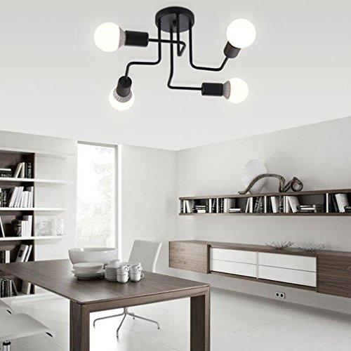 LED de l'industrie plafonniers en fer forgé E27 lumière grand plafond semi-Flush suspendu lumière noir blanc tension: 220V, BLACK-4