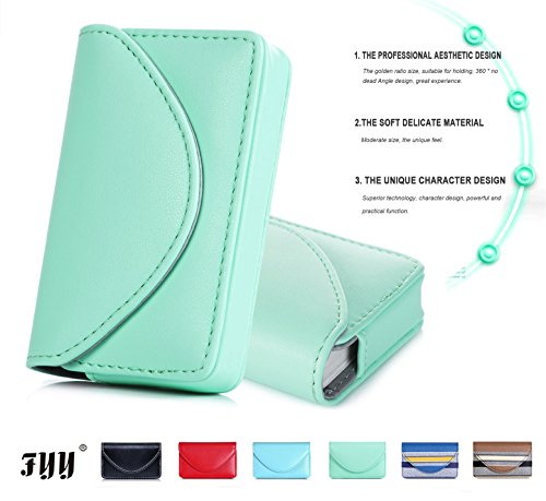 FYY Handmade Premium PU Leather Business Name Card Case Universal Card Holder with Magnetic Closure (Hold 30 pics of Cards) Mint Green