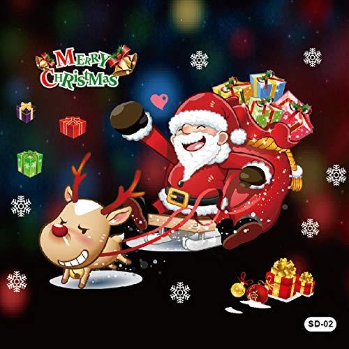 HNLY Weihnachtsaufkleber Weihnachtsaufkleber Weihnachtsfensterdekorationen Weihnachtsfensteraufkleber Weihnachtsverzierungen (2 StüCk) 80 * 100Cm