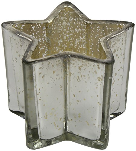 Decoline Teelicht-Gläser 3 Stück Stern Silber groß