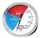 DOZYANT 3' BBQ Thermometer Temperature Gauge for Charcoal Grill Pit Smoker Temp Gauge Grill Thermometer with Fahrenheit and Heat Indicator