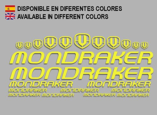 Ecoshirt RL-IOichi 11NW Aufkleber Mondraker F163 Vinyl Adesivi Decal Aufkleber ・・・llavero llavero llavero MTB Stickers Bike, Gelb