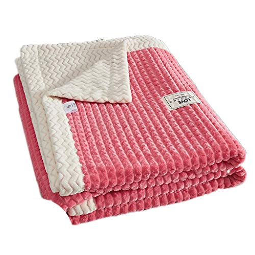 TXXM Fluffy Blankets Double/many Sizee - Super Soft Fleece Bedspread Blanket Flannel Microfiber Sofa Bed Blankets (Color : Pink, Size : 150 * 200cm)