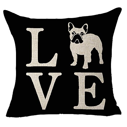 FELENIW Cute Animal Pet Dog French Bulldog Love People Friend Throw Pillow Cover Cushion Case Cotton Linen Material Decorative 18' Square (French Bulldog)