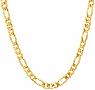 18K Yellow Gold 5.8mm Figaro 3+1 Link Chain Hollow Bracelet/Necklace-Made in Italy