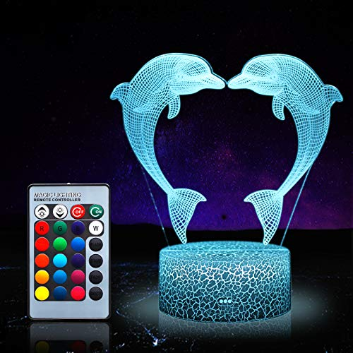 LUMBRILL 3D Dolphin Gifts Toys Decor LED Night Light with Remote Control, 16 RGB Colours Bedside Lamp, Smart Touch Adjustable Brightness, Birthday Present Decoration for Baby Boy Girl Kids