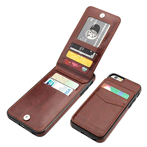 KIHUWEY iPhone 6 iPhone 6S Case Wallet with Credit Card Holder, Premium Leather Magnetic Clasp Kickstand Heavy Duty Protective Cover for iPhone 6/6S 4.7 Inch (Brown)