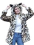 Choies Women Anime Faux Animal Hood Hoods Leopard Print Lapel Faux Fur Coat Fall Winter Outwear (X-Large, Multi-Leopard)