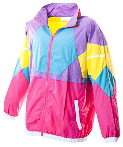 Adults 80s Bright Colored Geometric Windbreaker Jacket, S to XXL