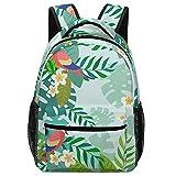 Bokueay Mochila unisex Parrot Palm perfecta para bolsas de viaje Mochila escolar ajustable de gran capacidad Estudiantes universitarios para ropa de libros