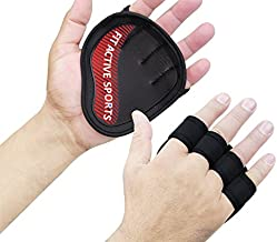 Fit Active Sports Workout Gloves for Pull Ups, Extra Gym Grips, Cross Training, & Grip Pads - Rubber Padding to Avoid Calluses - Suits Men & Women - Super Tight Grip (red, Large/Extra Large)