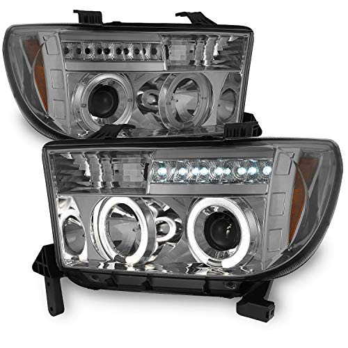 For Toyota Tundra Sequoia Smoke Dual Halo Ring Projector LED Replacement Headlights Left/Right Lamps