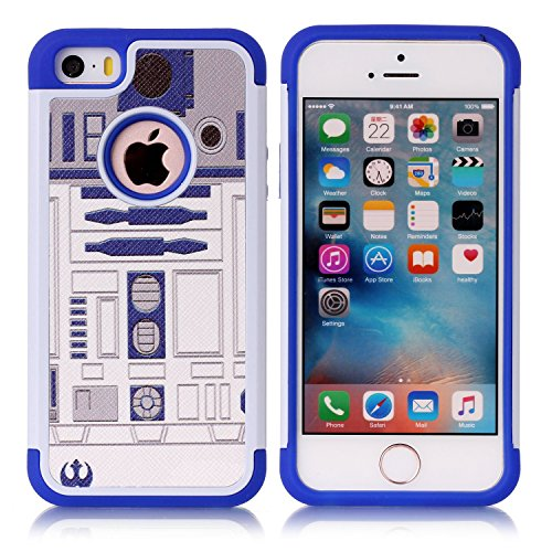 Iphone 5S Case, Iphone SE Case, R2D2 Astromech Droid Robot Pattern Shock-Absorption Hard PC and Inner Silicone Hybrid Dual Layer Armor Defender Protective Case Cover for Apple iphone 5/5S iphone SE