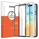 Amazon Brand - Eono Protector Pantalla para iPhone 11 / iPhone XR Cristal Templado, con Posicionador, Sin Burbujas, 6.1 Pulgadas, Negro, 2 Piezas