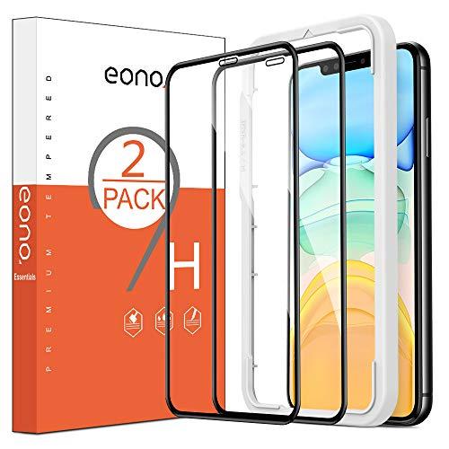 Eono Essentials [2 Stück] Schutzfolie kompatibel mit iPhone 11 und iPhone XR, 3D, 9H, Anti-Kratzen,Hülle Freundllich,mit Schablone