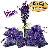 12x Lavendelsäckchen Bester frischer Lavendel - 120g Lavendelblüten Goût de Paris Duftsäckchen für Lavendelduft für Wäsche