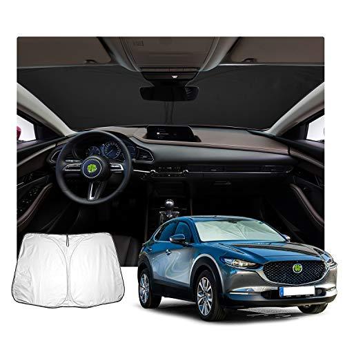 LFOTPP Parasol para parabrisas delantero de coche para 2019 2020 CX-30, protege el interior del vehículo, cubierta plegable auto bloqueando los rayos UV protector de visera solar