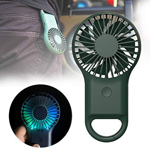 YONGCHY Ventiladores Eléctricos Portátiles, Ventilador USB Silencioso, Ventiladores Eléctricos Personales Escritorio Recargable Ventilador De Mano De Enfriamiento De 3 Velocidades,Verde