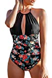 CUPSHE Women's Black Floral Plunging Halter Open Back One Piece Swimsuit, S