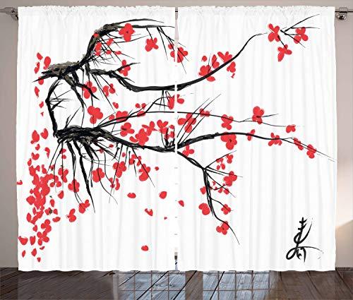 Ambesonne Nature Curtains, Sakura Blossom Japanese Cherry Tree Garden Summertime Vintage Cultural Print, Living Room Bedroom Window Drapes 2 Panel Set, 108' X 63', Grey Vermilion