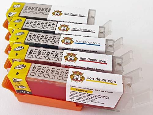 Logic-Seek TK181-TK185 - Set di cartucce con chip (PGI-580 / CLI-581) per Canon MG5750, MG5751, MG5752, MG5753, MG6850, MG6851, MG6852, MG6852, MG6853, MG7750, MG7751, MG7752, MG7753