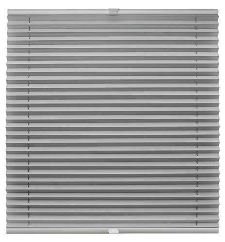 Plissee auf Maß für alle Fenster Montage Glasleiste Blickdicht mit Spannschuh Sonnenschutzrollo Hellgrau Breite: 81-90 cm, Höhe: 101-150 cm