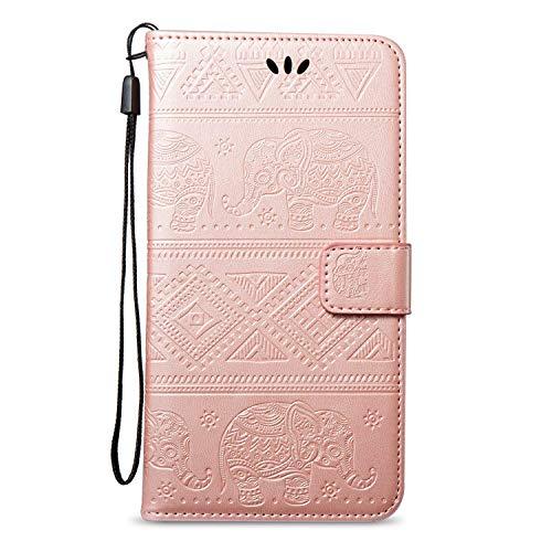 Surakey Cover Samsung Galaxy Grand Neo Plus i9060 a Libro, Elefante Portafoglio Flip Cover per Galaxy Grand Neo Plus Pelle Wallet Custodia con Porta Carte,Chiusura Magnetica,Funzione Stand,Oro Rosa
