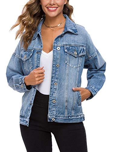 Womens Trucker Oversize Vintage Light Blue Denim Jean Jacket