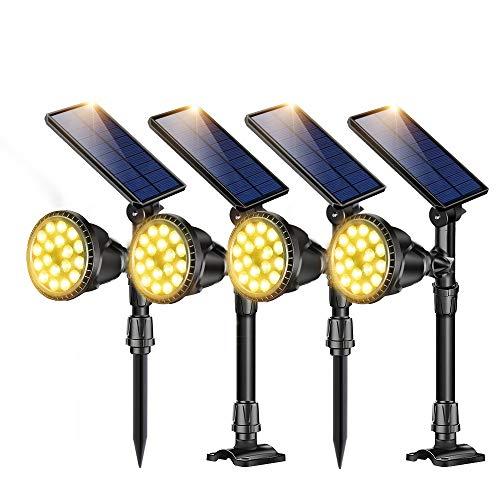 ROSHWEY Solar Landscape Lights Outdoor IP65 Waterproof Spotlight Adjustable Flood Lamps for Garden Lawn Backyard Patio Porch Wall Deck Garage (Warm White,4Pack)