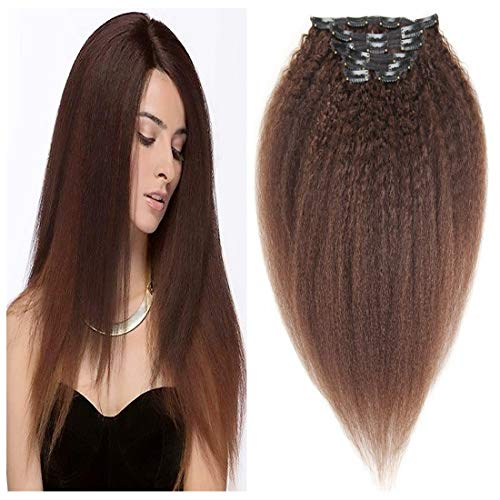 viviaBella Natural Brown Yaki Straight Clip in Extensions