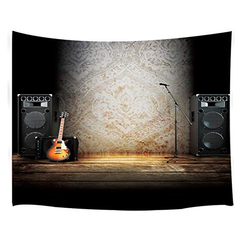 NYMB Music Tapestry Wall Hanging, Vintage Guitar on Wood Stage Wall Tapestry Art for Home Decorations Dorm Decor Living Room Bedroom Bedspread (Guitar, 80'' X 60')