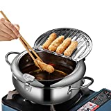 Tempura Frying Pot, Japanese Style 2.2L Mini Deep Fryer Pan 304 Stainless Steel With Thermometer,Lid...