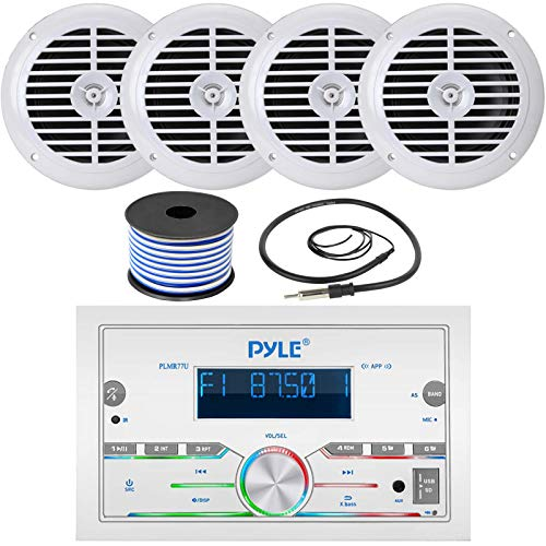 Pyle Double DIN AM FM Stereo MP3 USB AUX Bluetooth Marine Power Receiver Bundle Combo with 2 Pairs of 6.5   120W Full Range White Waterproof Marine Speakers, Wired Antenna, 18 Gauge Speaker Wire