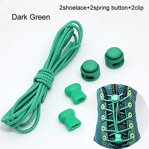 WEIHUIMEI 1 par de Cordones elásticos para los Zapatos, sin Corbata, Sistema de Bloqueo para Atletas y niños
