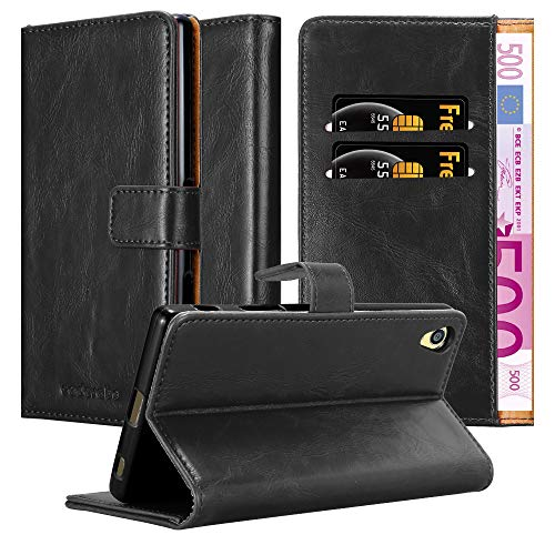 Cadorabo Hülle für Sony Xperia Z5 Premium in Graphit SCHWARZ – Handyhülle mit Magnetverschluss, Standfunktion & Kartenfach – Hülle Cover Schutzhülle Etui Tasche Book Klapp Style