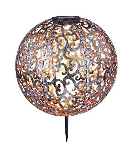 Solarleuchte Garten für Außen Deko Solarlampe LED Gartenlampen Solar Antik (Erdspieß, Dekoleuchte, Metall Silber, Durchmesser 28,5 cm, Kugel)