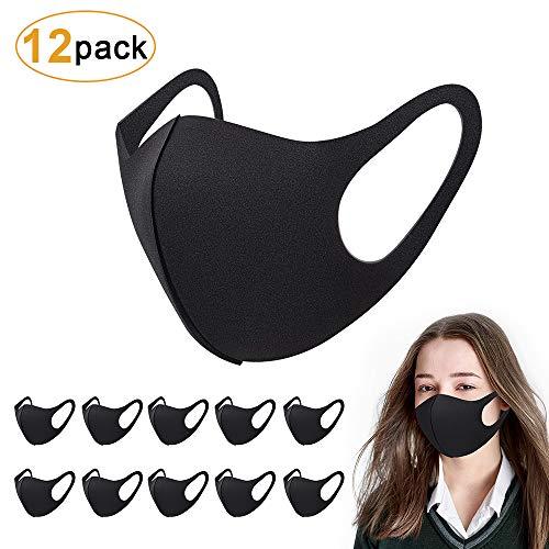 Sporgo 12 Stück Masken, Mundschutz Maske Schwarz Baumwolle Masken Fashion Unisex Wiederverwendbar Face Mask Waschbare Maske Staubmaske Staubschutzmaske