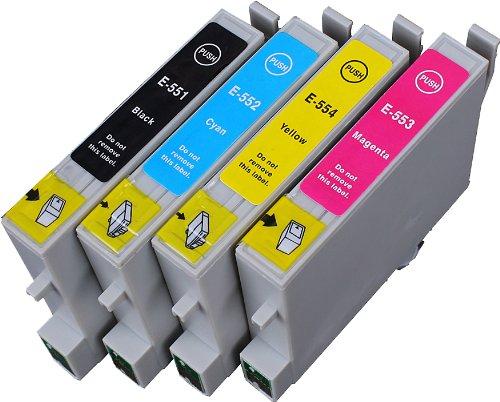 4 Multipack de alta capacidad Epson T0555 Cartuchos Compatibles 1 negro, 1 ciano, 1 magenta, 1 amarillo para Epson Stylus Photo R240, Stylus Photo R245, Stylus Photo RX425, Stylus Photo RX520. Cartucho de tinta . T0551 , T0552 , T0553 , T0554 , TO551 , TO552 , TO553 , TO554  123 Cartucho