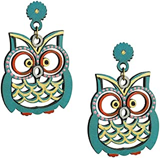 ExclusiveLane 'Symphony of Owls' Bohemian Handpainted Traditonal Earrings For Women & Jhumka In Recycled Wood