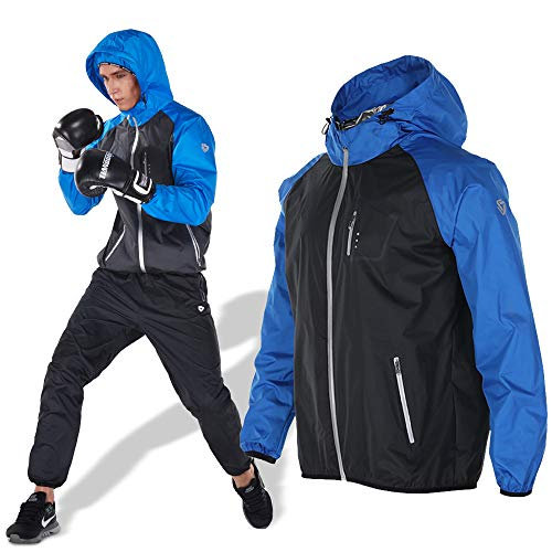 Zeno Stone サウナスーツ メンズ ランニングウェア 発汗 ダイエット ヨガ 洗える 防水 5色 (青, XL)