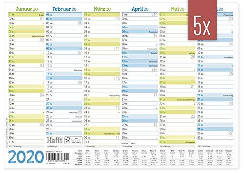 5 x Premium Tafelkelander 2020 A4 quer - Jahresplaner, Wandkalender, Jahreskalender inkl. kleine Übersicht Folgejahr, Feiertage & Ferienübersicht